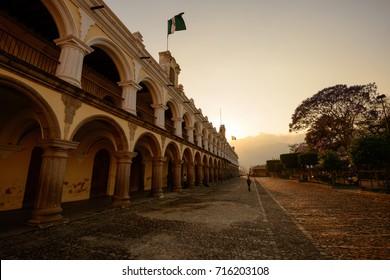 ANTIGUA, GUATEMALA - MARCH 3, 2014: Antigua city at Sunset in Guatemala