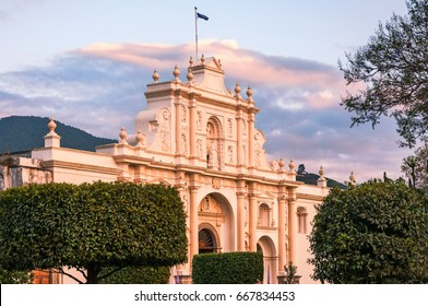 ANTIGUA, GUATEMALA - March 3, 2016: Saint James Cathedral at sunset in Antigua, Guatemala. The catholic church was built in Spanish Baroque Guatemalan Architectural Style.