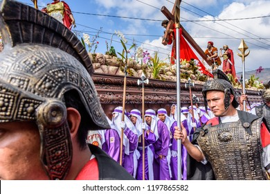 Antigua, Guatemala -  March 30, 2018: Good Friday procession in colonial town with most famous Holy Week celebrations in Latin America.