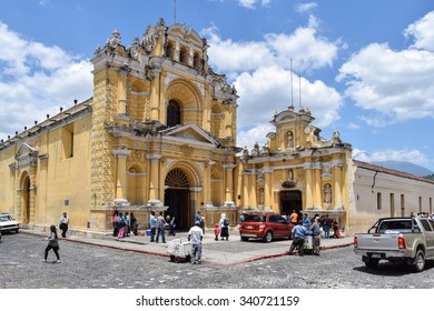 Antigua, Guatemala â?? May 30, 2015: Architectural details of colonial buildings in Antigua Guatemala, a UNESCO World Heritage Site founded in the 16th century. San Pedro Apostol Church.