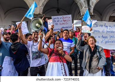 Antigua, Guatemala - September 15, 2017: Locals protest against government corruption in front of city hall on Guatemala's Independence Day.