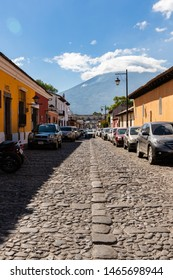 ANTIGUA, SACATEPEQUEZ/GUATEMALA - December 23, 2018: The Agua Volcano (Volcan de Agua) as seen from the UNESCO World Heritage site of Antigua, Guatemala, on a Sunday before Christmas Day 2018.