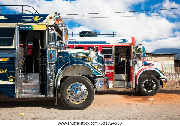 ANTIGUA,GUATEMALA -DEC 25, 2015:Typical guatemalan chicken bus in Antigua, Guatemala on Dec 25, 2015.Chicken bus It's a name for colorful,modified and decorated bus in various latin American countries