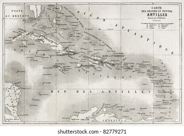 Antilles old map. Created by Vuillemin and Erhard, published on Le Tour du Monde, Paris, 1860
