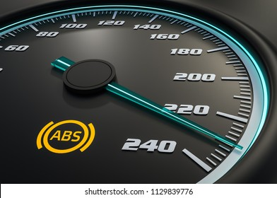 Anti-lock Brake System light on car dashboard. 3D rendered illustration.