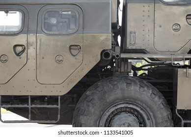 Anti-missile system, military equipment close-up