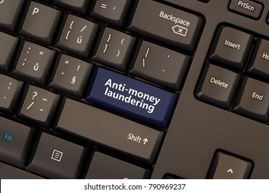Anti-money laundering concept on keyboard button (AML)