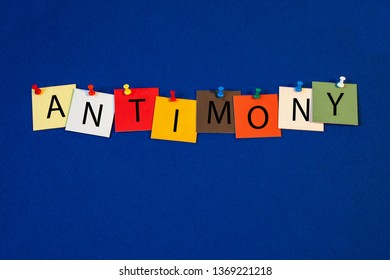 Antimony - one of a complete periodic table series of element names - educational sign or design for teaching chemistry.