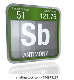 Antimony symbol  in square shape with metallic border and transparent background with reflection on the floor. 3D render. Element number 51 of the Periodic Table of the Elements - Chemistry