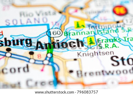 Antioch California USA On Map Stock Photo (Edit Now) 796083757 ...