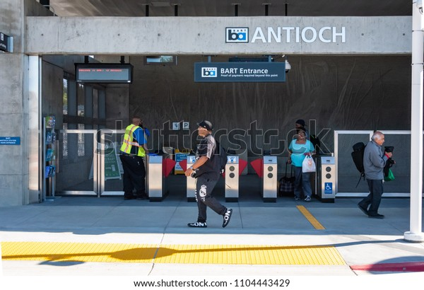 ANTIOCH, CA/U.S.A. - JUNE 2, 2018: A photo of the entrance to the new BART Antioch train station, located in East Contra Costa County.