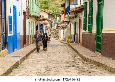 Concepción, Antioquia / Colombia. February 23, 2020. Traditional facade and street of Colombian town