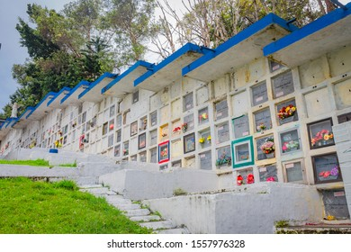 Medellín, Antioquia / Colombia. February 25, 2018. Parish Cemetery of America located in San Javier. Vertical gardens, portraits in graffiti and names of victims of Colombian violence