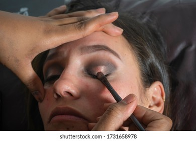 Medellín, Antioquia / Colombia. July 10, 2019. Close Up of a makeup artist applying makeup