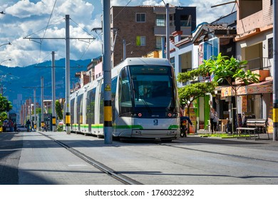 Medellín, Antioquia / Colombia - October 26, 2019. The Medellín tram is a means of urban, electric and rail passenger transport that operates in the city of Medellín.