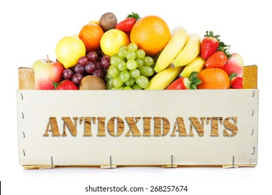 Antioxidants. Fruits in wooden box