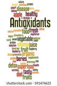 Antioxidants, word cloud concept on white background.