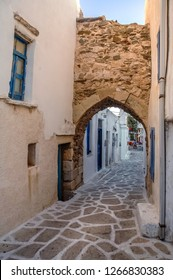 Antiparos, Greece. A small alley within the castle sector, in Antiparos town, the only settlement on Antiparos island. Part of the medieval fortification still remains among modern time houses.