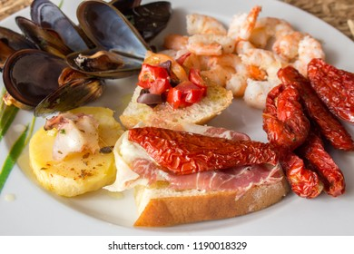 antipasti of fish and earth cuisine italy