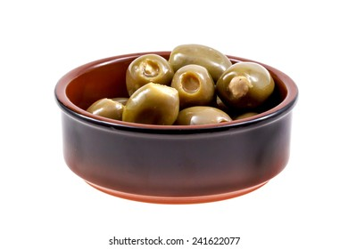 Antipasti in a rustic bowl viewed from slightly above