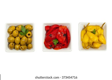 Antipasto Appetizers Isolated on white background. Selective focus.
