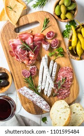 Antipasto delicatessen - sliced meat, ham, salami, cheese, olives ciabatta and pepperoni