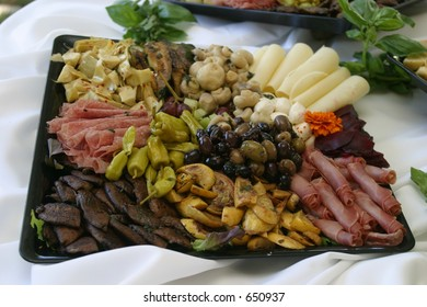 Antipasto display.