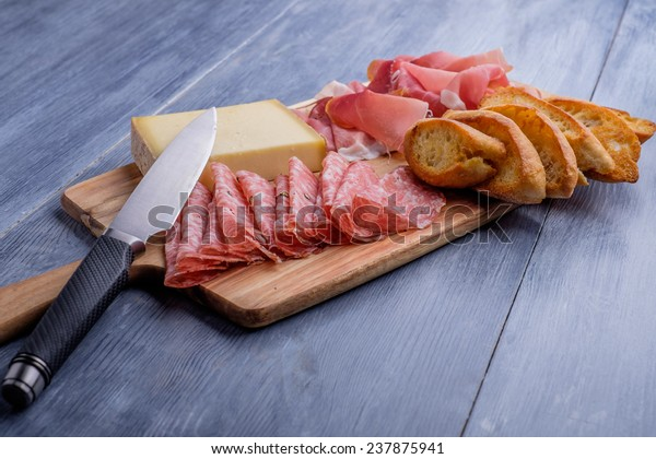Antipasto plate with cheese salami and ham