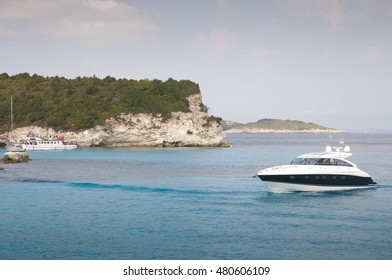 Antipaxos - small island in Greece with beautiful beach, azure water and yachts.