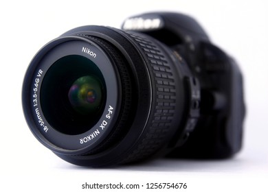 ANTIPOLO CITY, PHILIPPINES - DECEMBER 6, 2018: Close up picture of a kit lens of a Nikon DSLR camera.