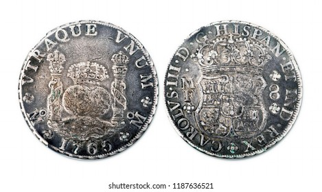 Antiqe Spanish silver dollar dated 1765 showing front and back of coin.