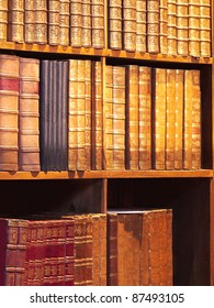Antiquarian books, collection of old books in bookshelf
