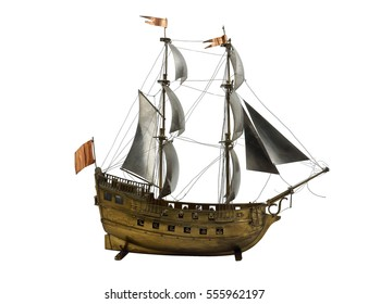 Antiquarian model of a sailing vessel on a white background