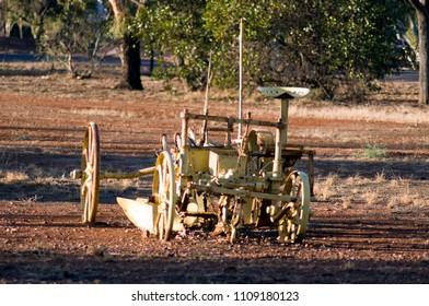 Antiquated farm equipment in community park, Quorn, South Australia