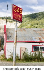 """antiquated gas station in Dawson, Yukon, """"Gas of the Past"""""""