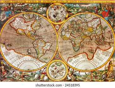 Antique 17th century world map macro closeup. Designed by Petro Kaerio in 1607.