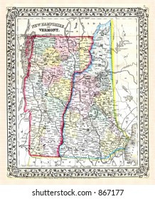 Antique 1870 Map of New Hampshire and Vermont
