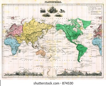 Antique 1875 Map of World