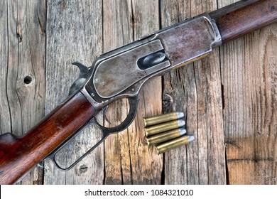 Antique 1876 lever action cowboy rifle.