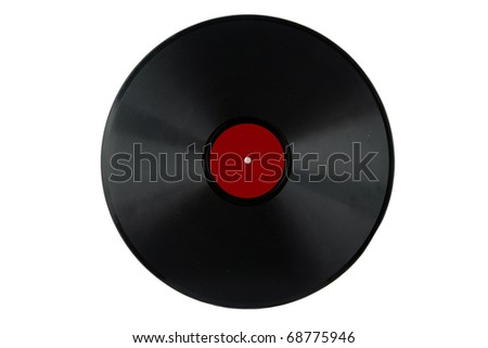 A Antique 78 Rpm Vinyl Record Album With Red Label Isolated On White Room