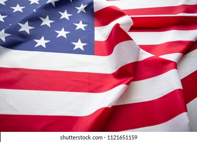 Antique America flag waving pattern background in red blue white color concept for USA 4th july independence day, symbol of patriot freedom and democracy.