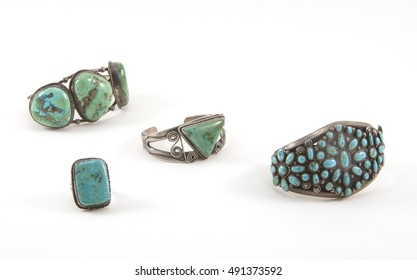 Antique American native turquoise silver bracelets and ring