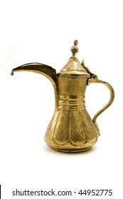 Antique arab teapot on a white background