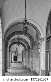 Antique Archway with Chandeliers.  Monochrome profile of a centuries old archway design.