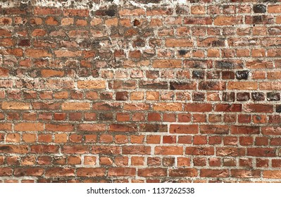 Antique background: old external brick wall of a church, uneven and weathered