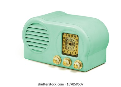 Antique bakelite tube radio isolated on white, clipping path included, units in spanish