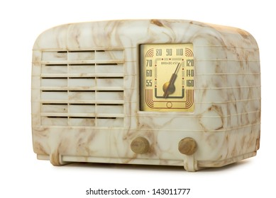 Antique bakelite tube radio, isolated over white, clipping paths included