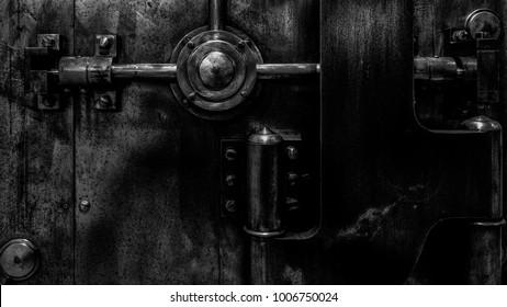 Antique bank vault door.