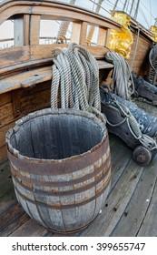 antique barrel on pirate sail ship detail