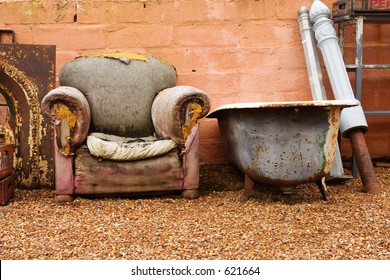 Antique bath and old chair